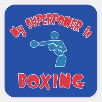 Mi superpotencia está encajonando pegatina cuadrada