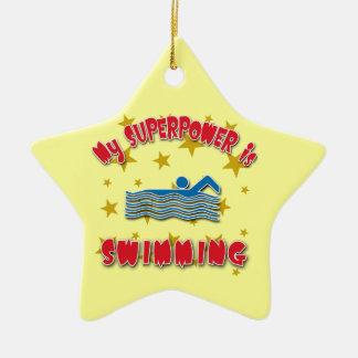 Mi superpotencia está nadando adorno navideño de cerámica en forma de estrella