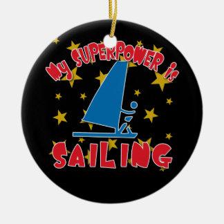 Mi superpotencia está navegando adorno navideño redondo de cerámica