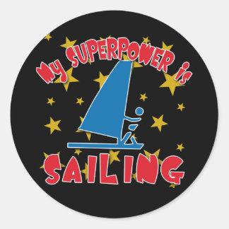 Mi superpotencia está navegando pegatina redonda