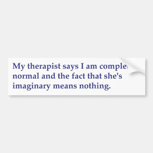 Mi terapeuta dice etiqueta de parachoque