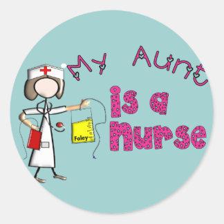 """""""Mi tía es las camisetas de los niños enfermera"""" Pegatina Redonda"""