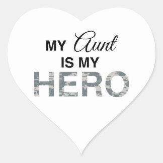 Mi tía es mi camuflaje de Digitaces del héroe Pegatina En Forma De Corazón