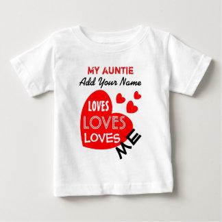 Mi tía Loves Me con el texto de encargo V01 de los Playera De Bebé
