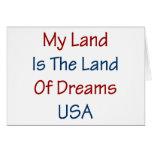 Mi tierra es la tierra de los sueños los E.E.U.U. Tarjeton