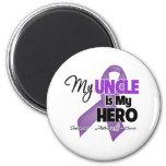 Mi tío es mi héroe - cinta púrpura imán para frigorífico