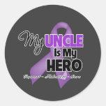 Mi tío es mi héroe - cinta púrpura pegatinas redondas