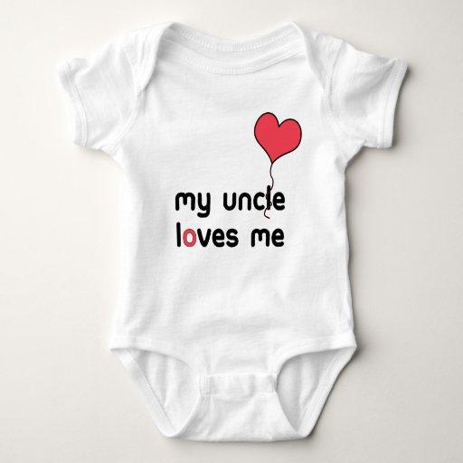 Mi tío me ama globo rojo del corazón mameluco de bebé