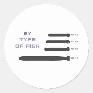 Mi tipo de pescados pegatina redonda