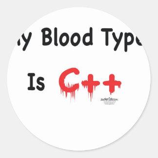 Mi tipo de sangre es c++ pegatina redonda