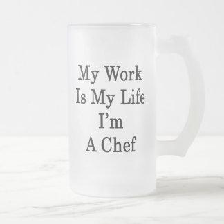 Mi trabajo es mi vida que soy cocinero taza cristal mate