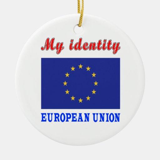 Mi unión europea de la identidad adorno redondo de cerámica