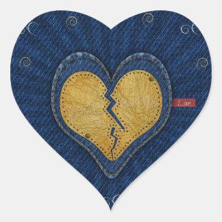 Mí-usted corazón roto de la tela del cuero y de pegatina en forma de corazón