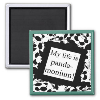 Mi vida es panda-monium imán cuadrado
