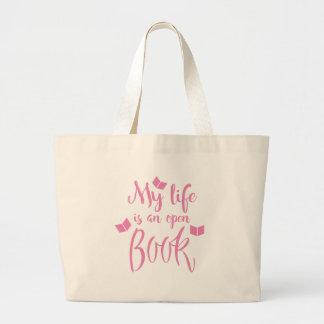mi vida es un libro abierto bolsa de tela grande