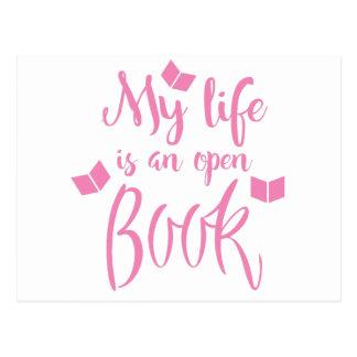 mi vida es un libro abierto postal