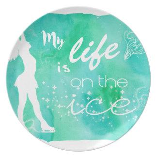 Mi vida está en diseño el hielo del patinaje platos de comidas