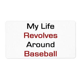 Mi vida gira alrededor de béisbol etiquetas de envío
