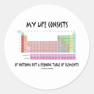 Mi vida nada pero tabla de elementos periódica pegatina redonda