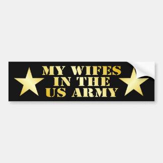 Mi Wifes en el ejército Etiqueta De Parachoque