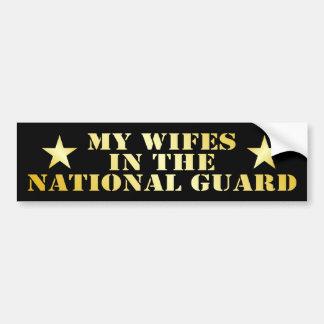 Mi Wifes en el Guardia Nacional Etiqueta De Parachoque