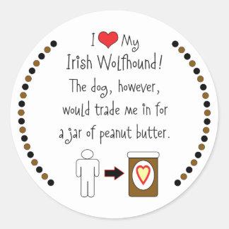 Mi Wolfhound irlandés ama la mantequilla de Pegatina Redonda