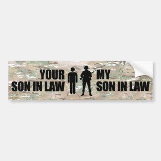 Mi yerno desempeña servicios en los militares pegatina para auto