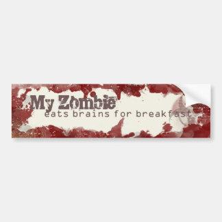 Mi zombi come los cerebros para la pegatina para pegatina para auto