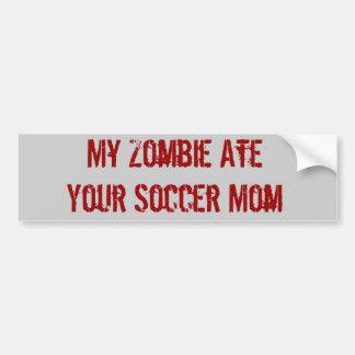Mi zombi comió a su mamá del fútbol pegatina de parachoque