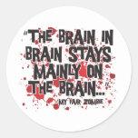 Mi zombi justo pegatinas redondas