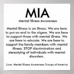 MIA, conciencia de la enfermedad mental, enfermeda Posters