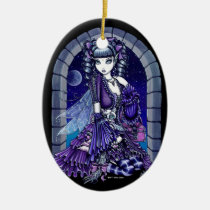 mia, victorian, cat, moon, gothic, fairy, faery, faerie, fae, purple, ruffles, fantasy, art, myka, jelina, mika, big, eyed, cats, Ornament with custom graphic design