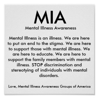 MIA, Mental Illness Awareness, Mental Illness i... Poster