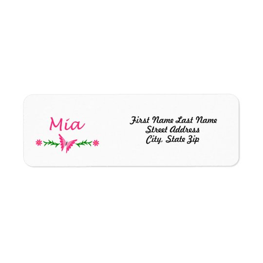 Mia (Pink Butterfly) Label