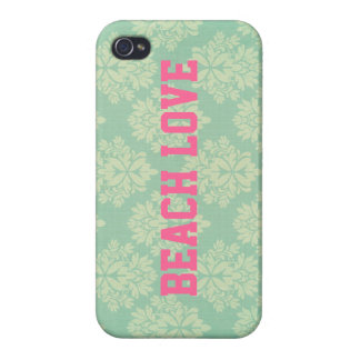Mia: Teal and Pink Beach Love iPhone Case iPhone 4 Cover