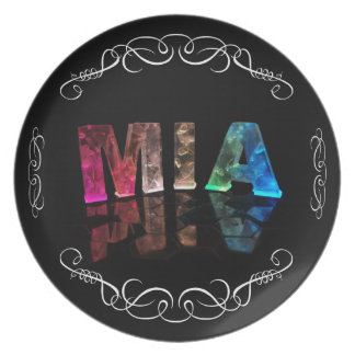 Mia  - The Name Mia in 3D Lights (Photograph) Melamine Plate