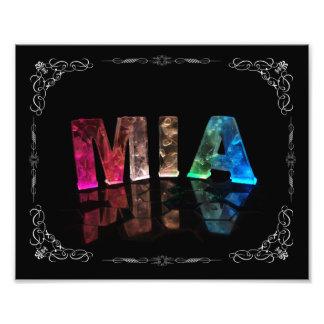 Mia  - The Name Mia in 3D Lights (Photograph) Photo Print
