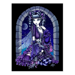 """""""Mia"""" Twilight Moon Fairy & Kitty Postcard"""