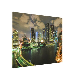 Miami at Night Canvas Print