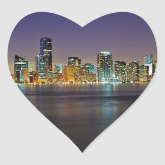Miami At Night Heart Stickers