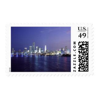 Miami at Twilight Postage Stamps