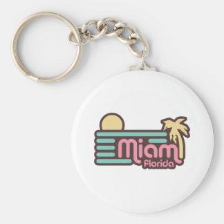 Miami Basic Round Button Keychain