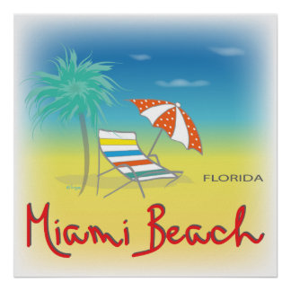 Miami Beach, FL Chair Poster