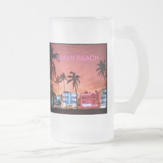 Miami Beach, Florida 16 Oz Frosted Glass Beer Mug
