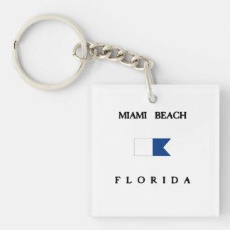 Miami Beach Florida Alpha Dive Flag Keychain