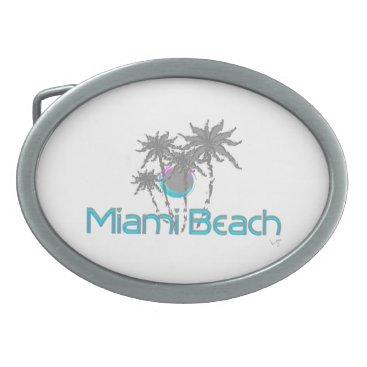 Beach Themed Miami Beach, Florida, Blue, Cool Belt Buckle