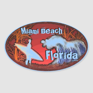 Miami Beach Florida blue surfer waves art stickers