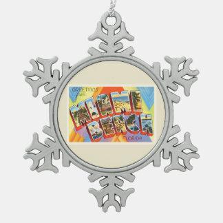 Miami Beach Florida FL Old Vintage Travel Souvenir Snowflake Pewter Christmas Ornament