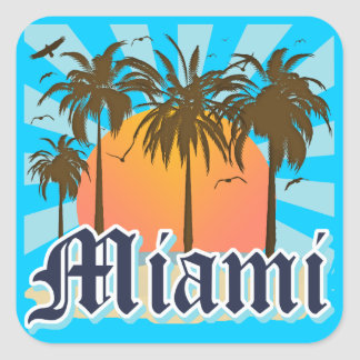 Miami Beach Florida FLA Square Sticker