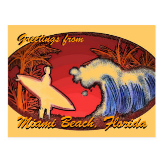 Miami Beach Florida greetings surfer art postcard
